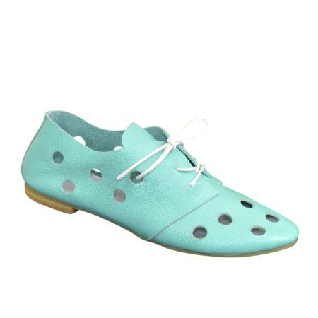Женские облегченные туфли низки ход кожаные, цвет мята