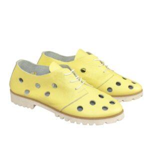 Туфли облегченные женские низкий ход, кожаные желтые, на шнурках