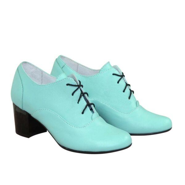 Туфли женские кожаные на устойчивом каблуке, цвет мята