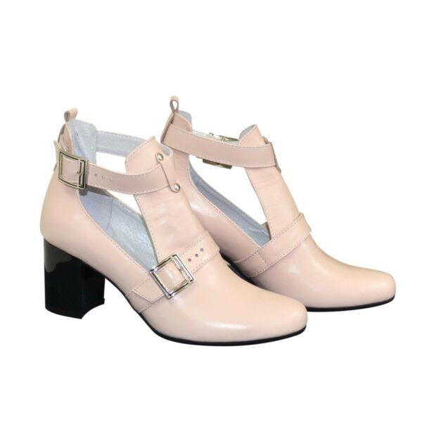 Ботильоны открытые кожаные женские на невысоком каблуке, цвет пудра