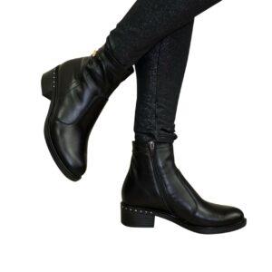 женские ботинки зима-осень кожаные на удобном невысоком каблуке, цвет черный