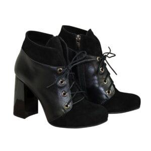 ботинки из натуральной замши и кожи на устойчивом каблуке,цвет черный