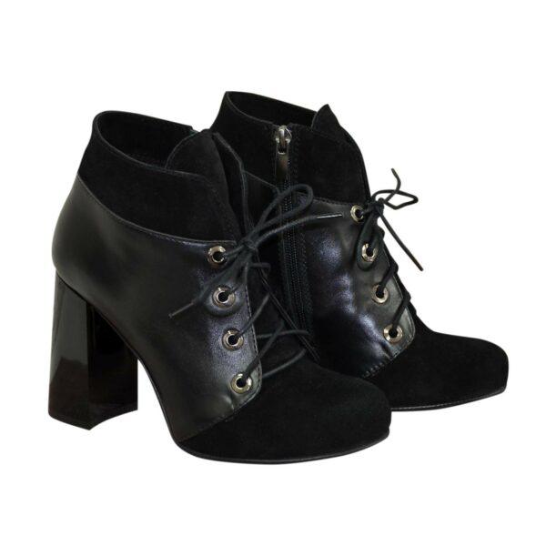 Ботинки зимние женские на устойчивом каблуке, натуральная кожа и замша