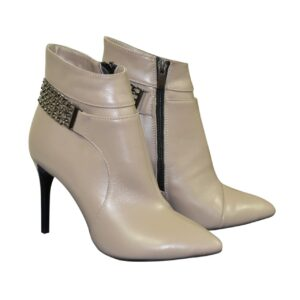 Женские классические кожаные ботинки цвет визон украшены цепью,демисезон-зима