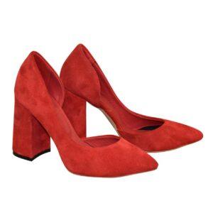 Женские красные замшевые туфли на высоком устойчивом каблуке
