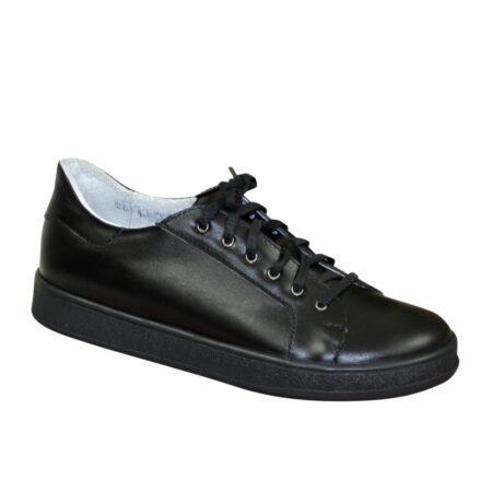 Кеды женские кожаные черные на шнуровке