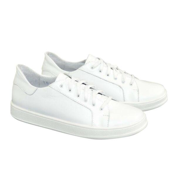 Детские кожаные мокасины на шнуровке, цвет белый