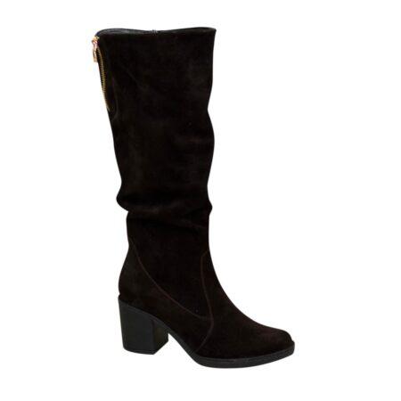 Сапоги женские коричневые замшевые зима осень на устойчивом каблуке
