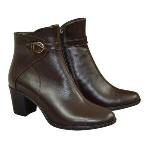 Ботинки женские кожаные на устойчивом каблуке коричневые