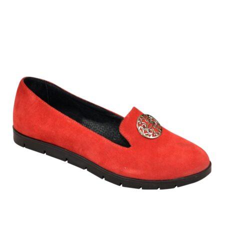 Женские туфли из натурального красного замша, удобные легкие на утолщенной черной подошве