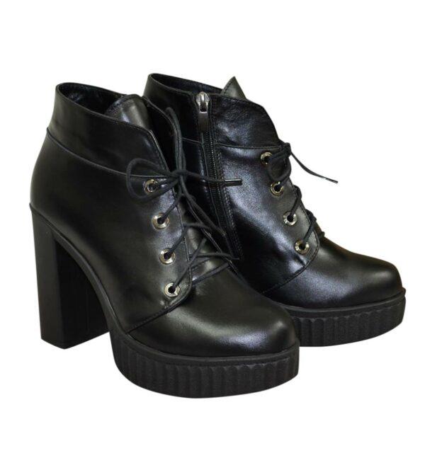 Ботинки демисезонные женские кожаные на высоком каблуке
