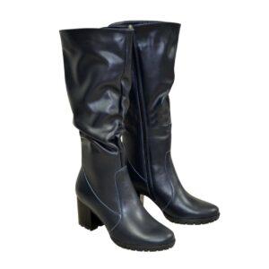 Сапоги женские кожаные зима осень на устойчивом каблуке, цвет синий