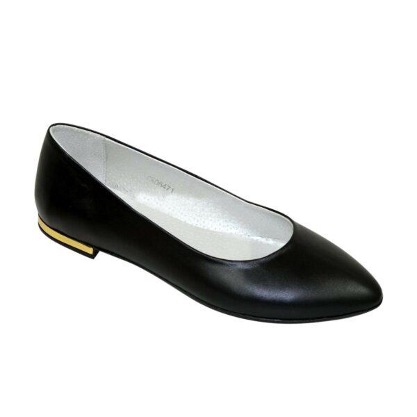 Женские кожаные туфли-балетки с заостренным носком