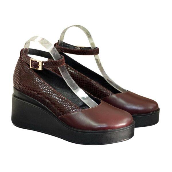 Женские туфли на платформе, натуральная кожа и замша бордового цвета