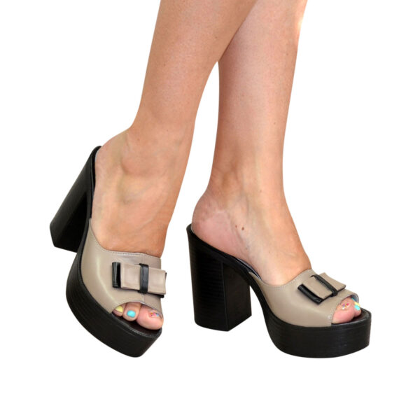 Сабо кожаные женские на высоком устойчивом каблуке
