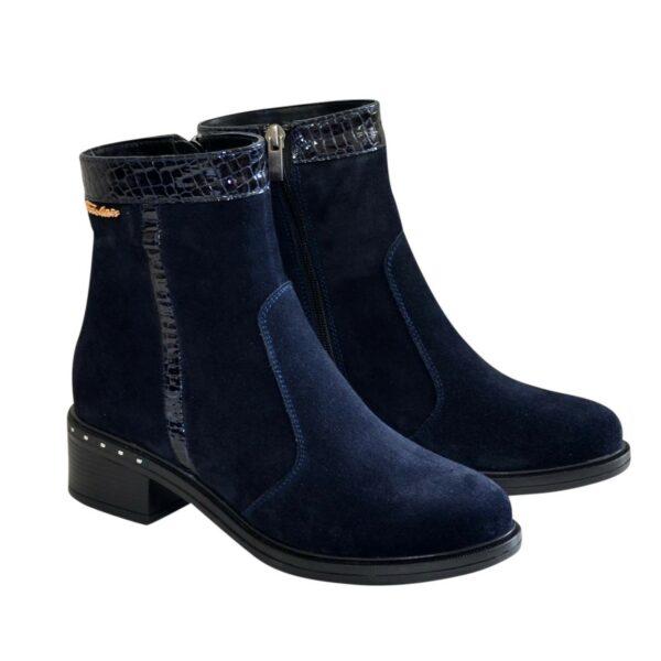Ботинки женские зимние синие на невысоком каблуке, натуральная замша и лак с тиснением питон