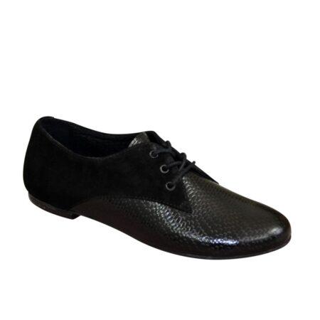 Туфли женские черные, низки ход, замша+кожа