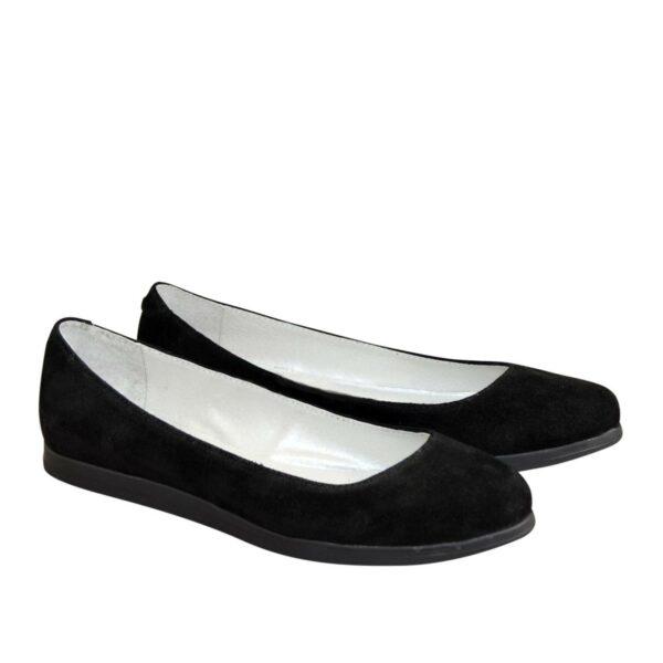Женские черные туфли на низком ходу, натуральная замша