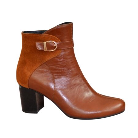 ботинки женские осень зима на широком устойчивом каблуке комбинированные натуральная кожа замшем рыжего цвета