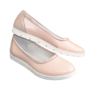 Женские балетки из натуральной кожи на сплошной белой подошве цвет пудра+розовый
