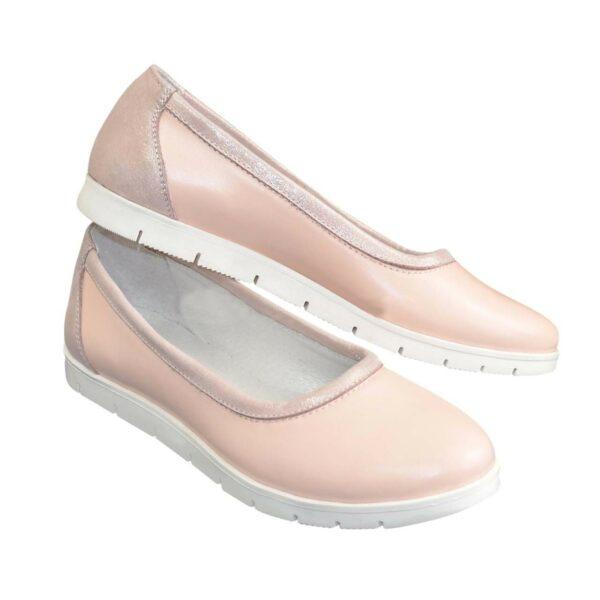 Балетки женские кожаные на утолщенной подошве, цвет пудра/розовый