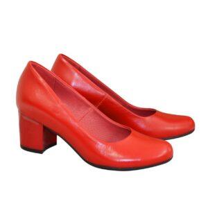 Красные кожаные женские туфли-лодочки на невысоком устойчивом каблуке