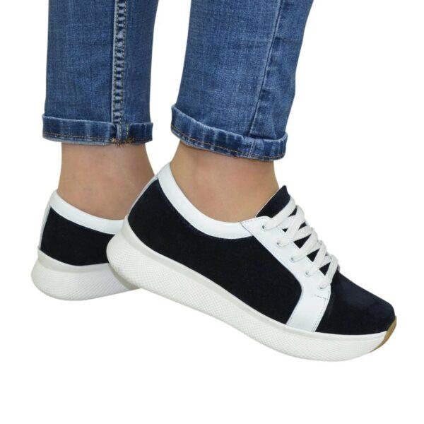 Кроссовки женские на утолщенной подошве, цвет синий/белый