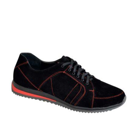 Кроссовки черные мужские на шнуровке, натуральная замша