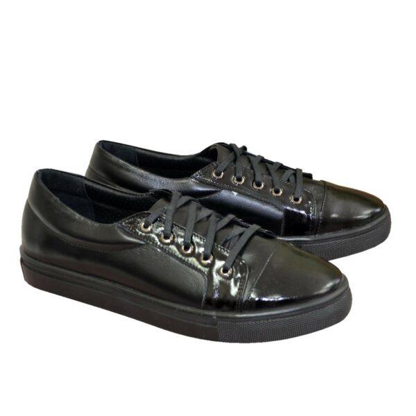 Женские черные туфли на утолщенной плоской подошве, натуральная кожа и лаковая кожа