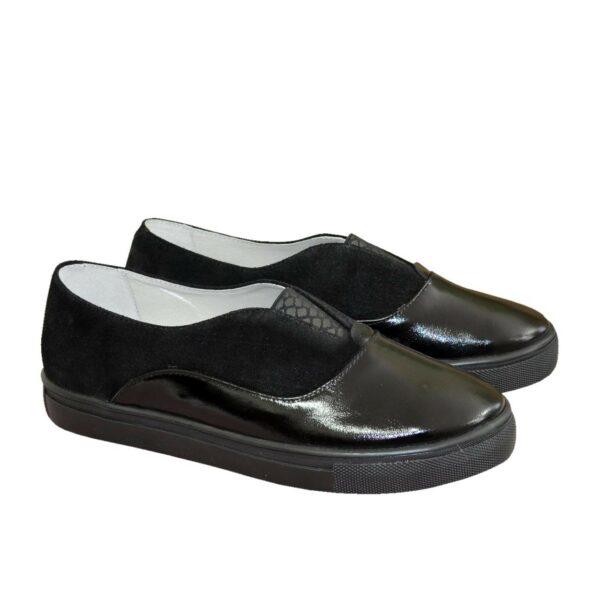 Женские черные туфли на утолщенной плоской подошве, натуральная лаковая кожа и замша
