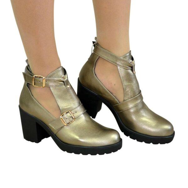 Ботильоны открытые кожаные женские на каблуке, цвет бронза