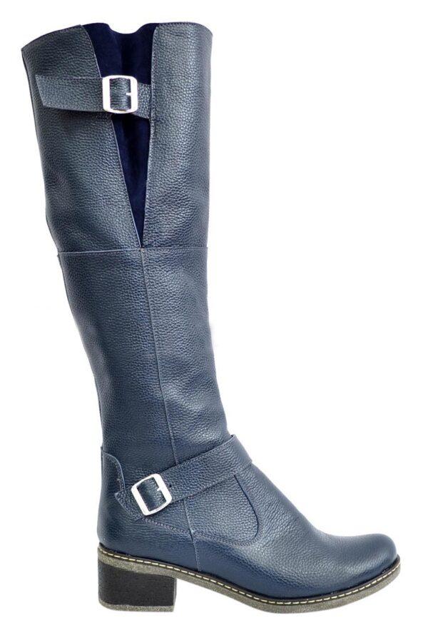 Женские кожаные сапоги из кожи синего цвета флотар, демисезонные на байке