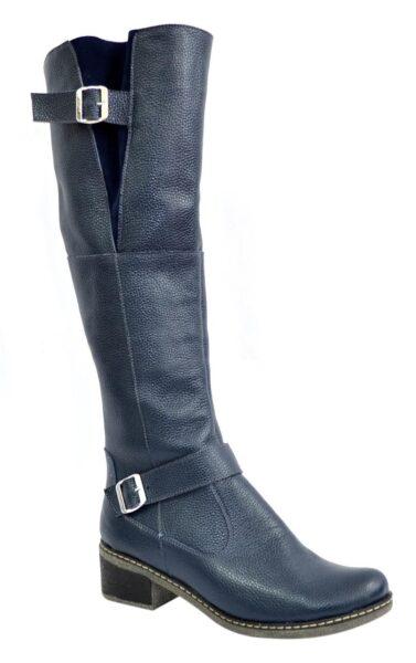 Женские кожаные сапоги ботфорты из кожи синего цвета, на небольшом каблуке
