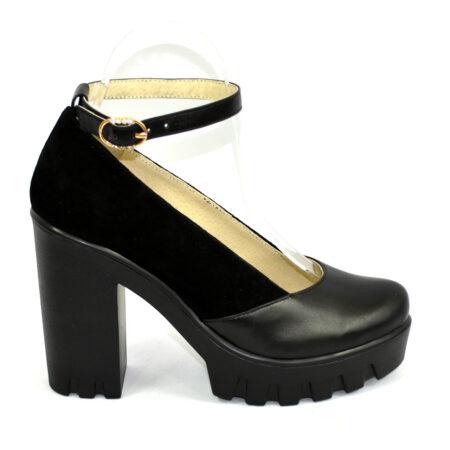 Туфли женские на утолщенной тракторной подошве черного цвета, кожа+замша