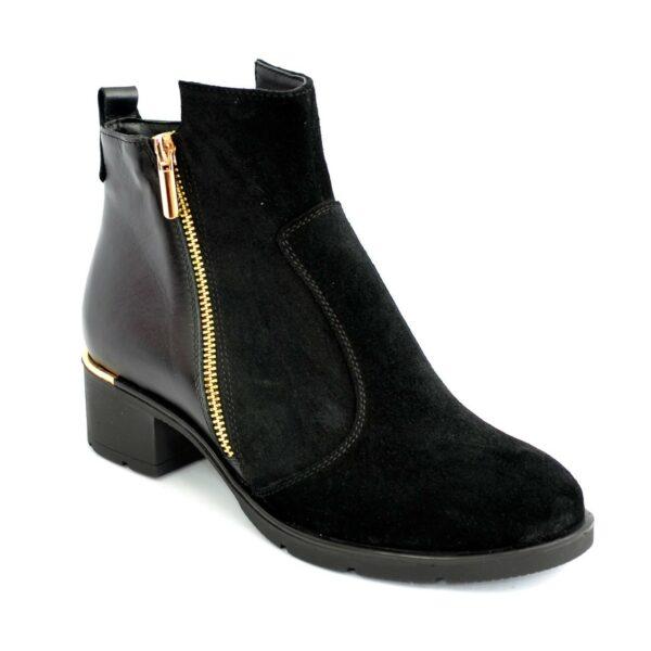 Женские демисезонные полуботинки на невысоком каблуке, натуральная замша и кожа