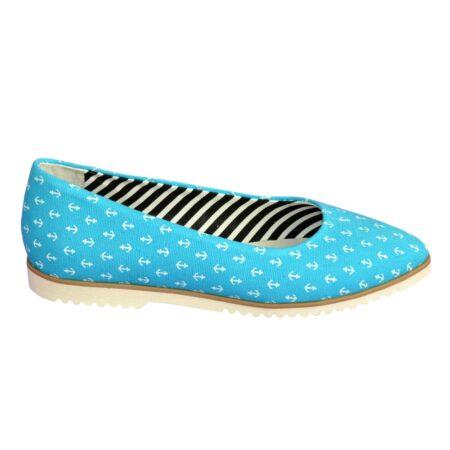 Женские туфли-балетки текстиль с заостренным носочком