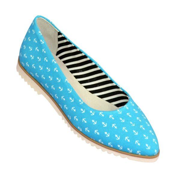 Женские текстильные туфли-балетки с заостренным носком