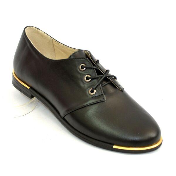 Туфли женские черные кожаные на шнуровке, низкий ход