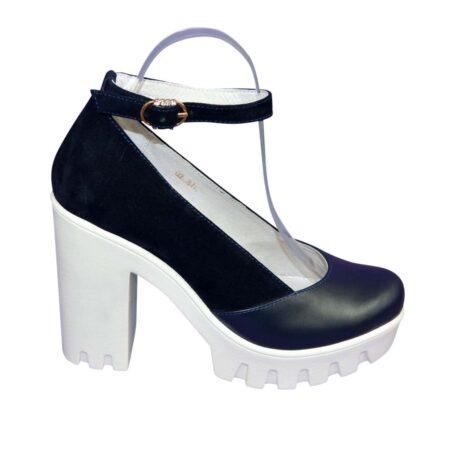 Туфли женские на тракторной подошве с высоким каблуком, кожа+замша синего цвета
