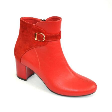 женские кожаные осень зима ботинки на широком устойчивом каблуке,цвет красный