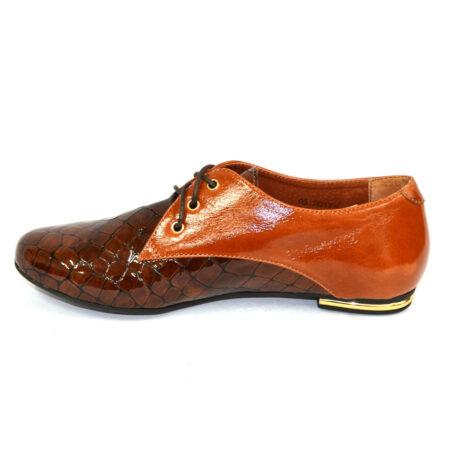 Туфли женские низкий ход из рыжей кожи и коричневого крокодила, на шнуровке