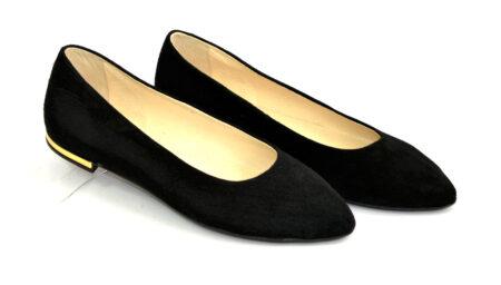 Туфли-балетки женские из натуральной замши черного цвета, с заостренным носком