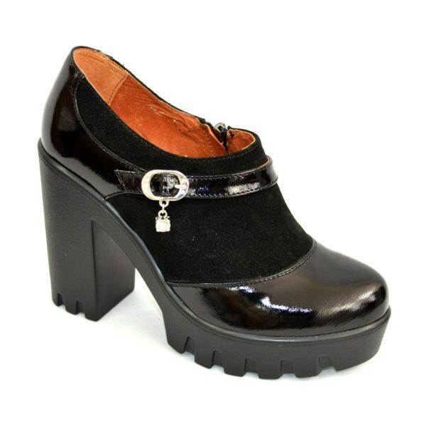 Женские туфли на тракторной подошве, натуральная лаковая кожа и замша