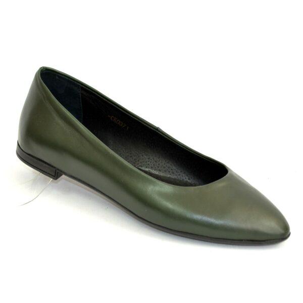 Женские зеленые кожаные туфли-балетки с заостренным носком