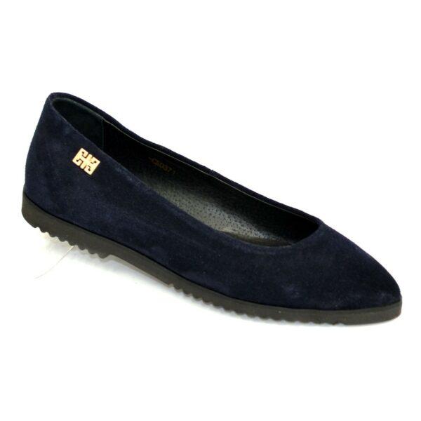 Женские синие замшевые туфли-балетки с заостренным носком