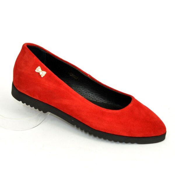 Женские красные замшевые туфли-балетки с заостренным носком