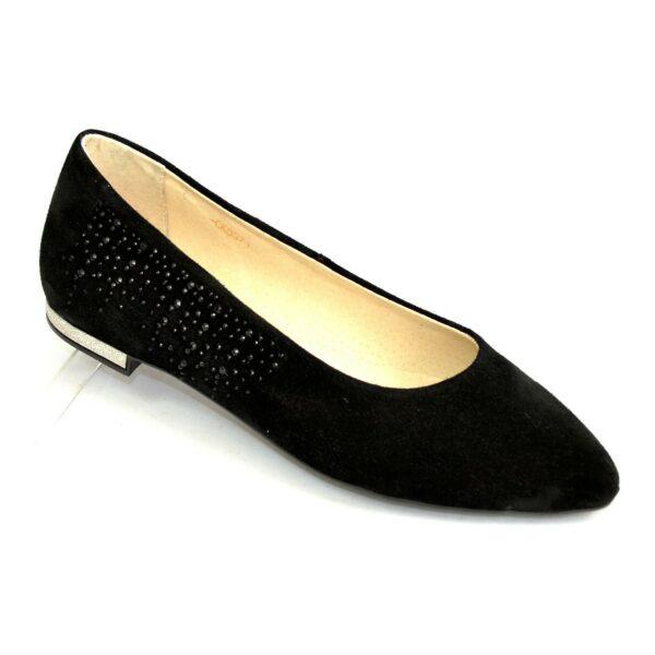 Женские замшевые туфли-балетки с заостренным носком, декорированы накаткой камней