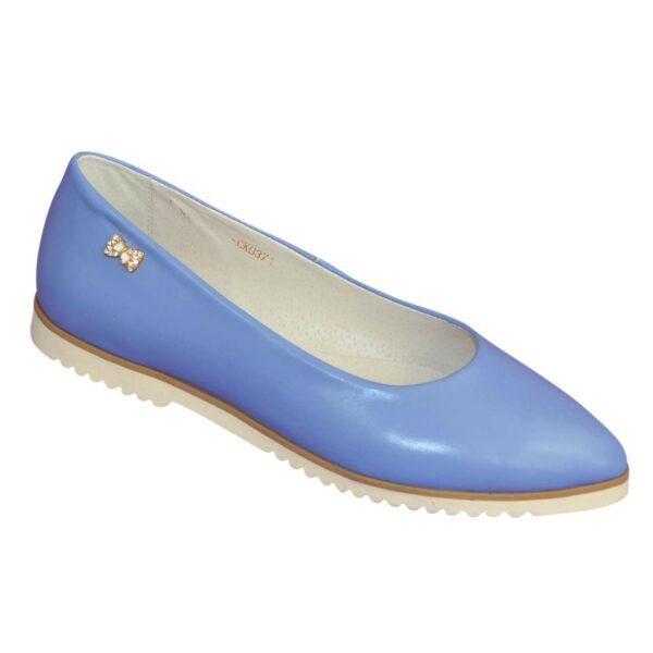 Женские голубые кожаные туфли-балетки с заостренным носком