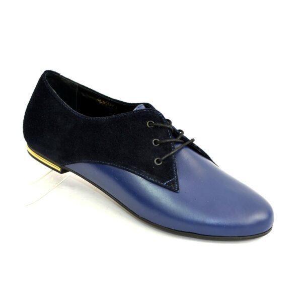 Туфли женские синие на шнуровке, низкий ход