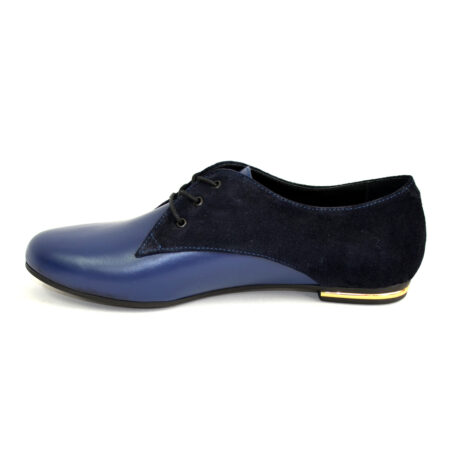 Женские туфли на низком ходу синие, кожа+замша